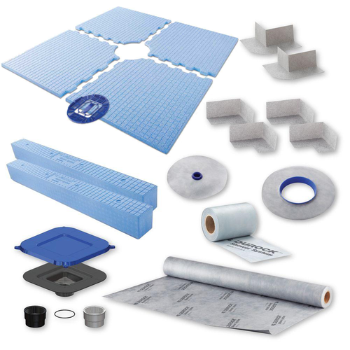 """Durock 72""""x72"""" Complete Kit with Center Drain"""