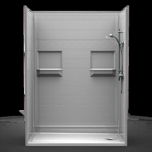 """Phoenix Shower - Diamond Tile - Centre Drain - 54""""x30""""x82"""""""
