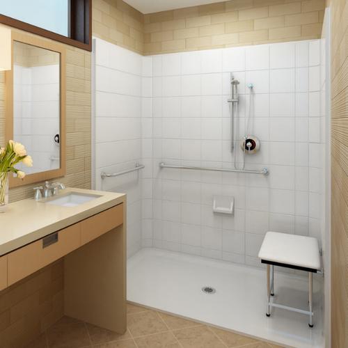 model 5LES6042B1B installed barrier free shower kit