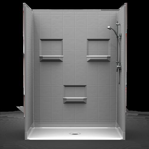 """Phoenix Shower - 8"""" Tile - Centre Drain - 60""""x48""""x82"""""""