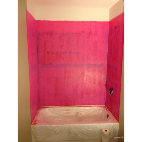 Red Gard applied to bathtub walls