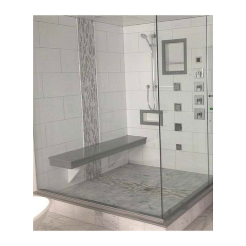Adjustable floating bench with Cultured Granite bench and threshold and with two supports, two niches including a floating shelf installed in the largest niches.
