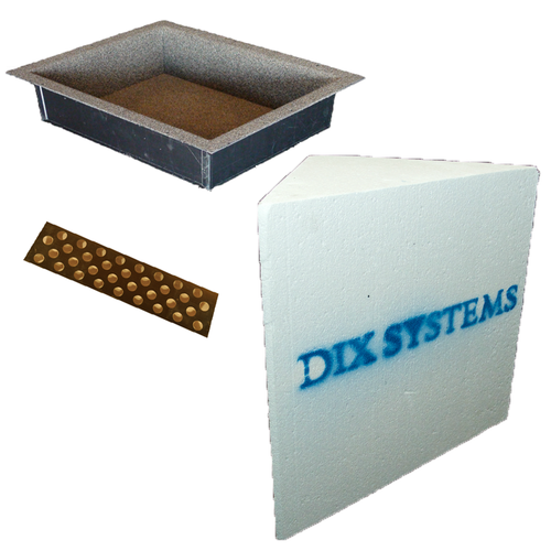 """Innovis Recess-It 14"""" x 18"""" Niche (REC1418) and floating shelf (RECSHELF) with Dix Systems Solid Corner Bench (DSSC-16)"""