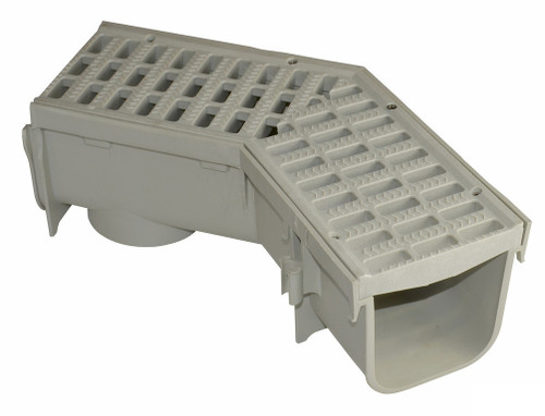 """NDS Pro Series 5"""" Deep Profile Channel Drain 45 w/ Grate"""