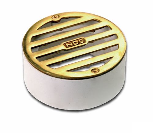 "NDS  3"" Round Polished Brass Grate w/PVC Collar"
