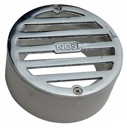 "NDS  3"" Round Polished Chrome Grate w/PVC Collar"