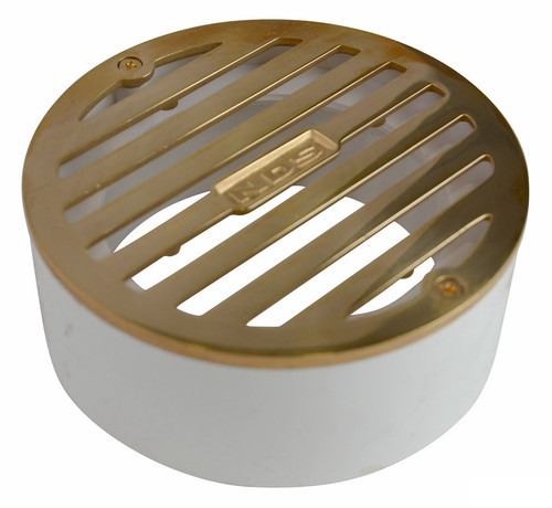 "NDS  4"" Round Polished Brass Grate w/PVC Collar"