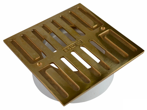 "NDS  5"" Square Polished Brass Grate w/Styrene Collar"