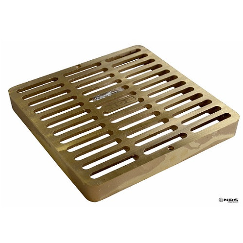 "NDS  Square Brass Grate for 9"" Basin"