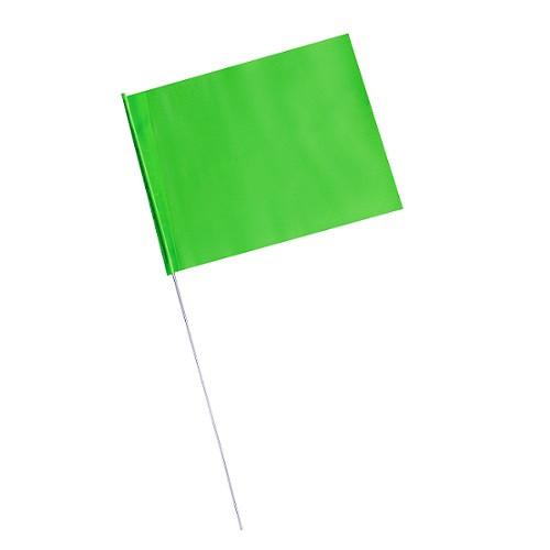 "4"" x 5"" Marking Flags Fluorescent Green - 30"" Wire Staff (1000)"