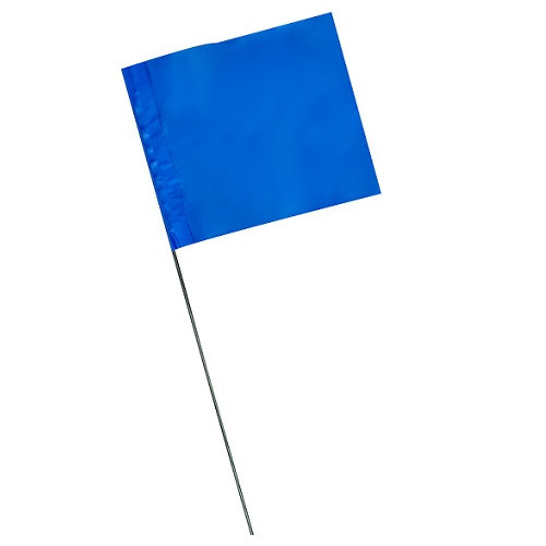 """4"""" x 5"""" Marking Flags Blue - 30"""" Wire Staff (1000)"""