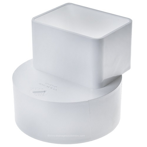 "PVC 2"" x 3"" x 4"" SDR35 Downspout Adapter Offset (DSA x Hub)"