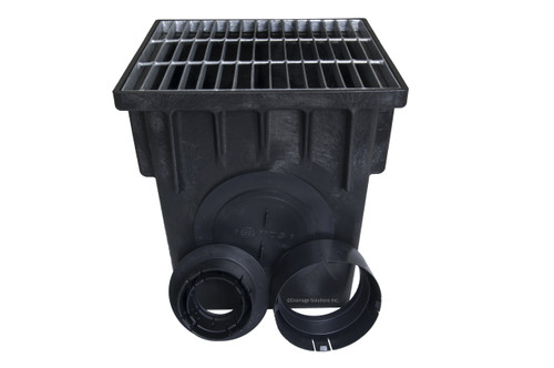 """NDS 18"""" Two Hole Catch Basin Kit w/ Galvanized Metal Grate"""
