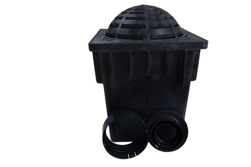 "NDS 18"" Two Hole Catch Basin Kit w/ Black Atrium Grate"