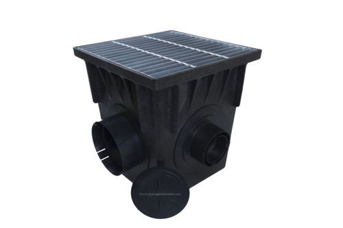 """NDS 18"""" Four Hole Catch Basin Kit w/ Galvanized Metal Grate"""