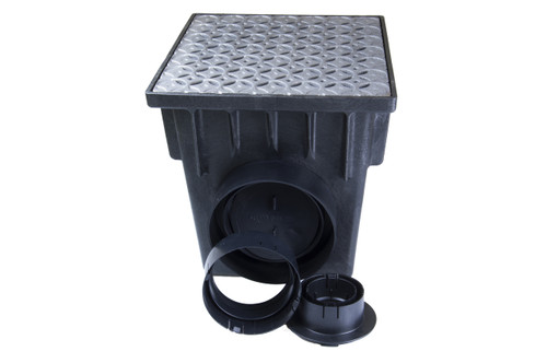 "18"" Two Hole Catch Basin Kit w/ Cast Iron Interlaken Grate"