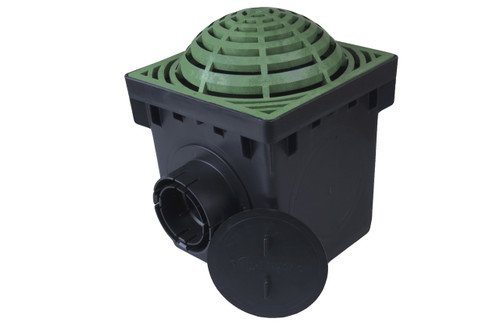 "NDS 9"" Two Hole Catch Basin Kit w/ Green Atrium Grate"