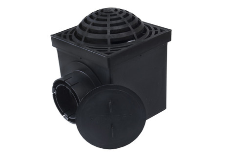 "NDS 9"" Two Hole Catch Basin Kit w/ Black Atrium Grate"