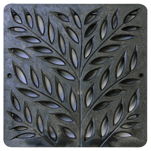 """NDS Square Decorative Botanical Grate for 12"""" Basin - Black (Each)"""