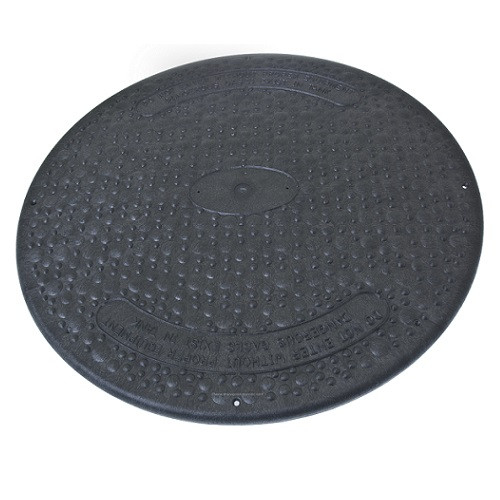 "24"" Structural Foam Solid Septic Riser Cover - Black"