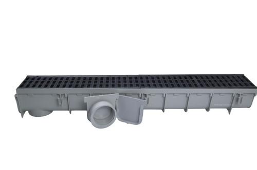 "NDS Pro Series 5"" x 1 Meter Deep Profile Channel Drain Kit (Black)"