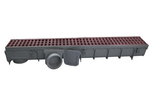 """NDS Pro Series 5"""" x 1 Meter Deep Profile Channel Drain Kit (Brick Red)"""