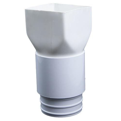 "PVC 4"" x 5"" x 4"" Corrugated Downspout Adapter Kit (Centered)"