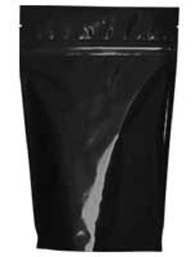 Resealable zip close bag with one-way degassing valve.
