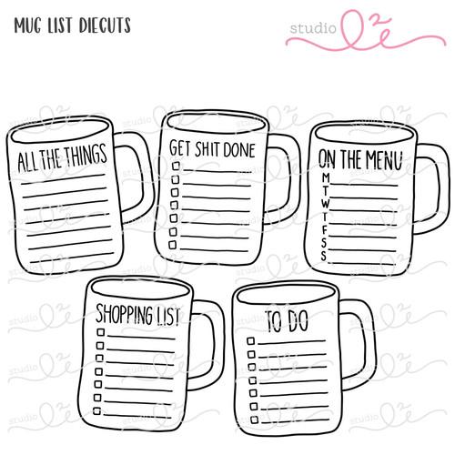 Mug List digital die cuts by Studio L2E
