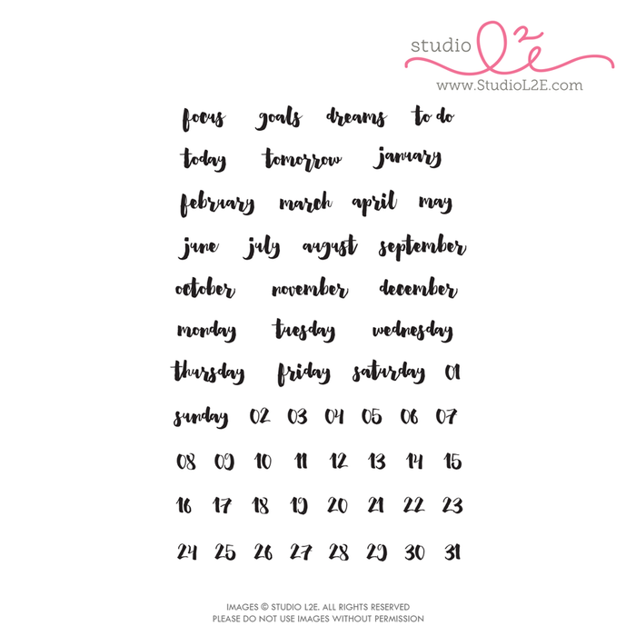Brush Dates planner stamps by Studio L2E