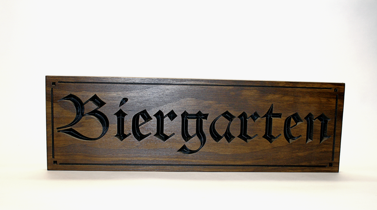 wooden custom beergarden biergarten sign