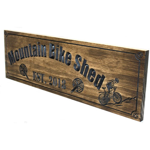 wooden bicycle sign