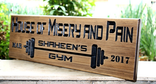 Home GYM Sign with barbells