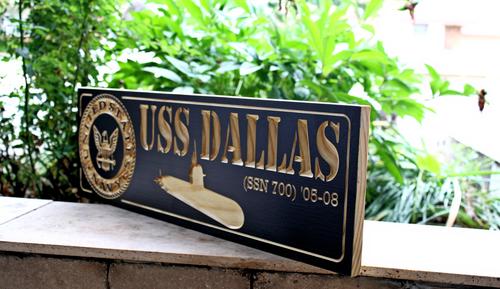 US Navy Submarine Plaque / Sign fest USS DALLAS