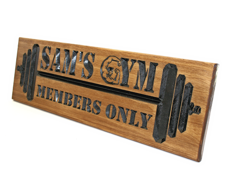 Home GYM Sign with barbells and bodybuilder
