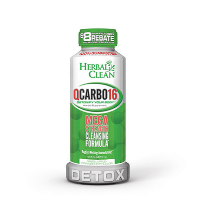 Herbal Clean QCarbo16 Mega Strength with Eliminex Green-Apple-Cranberry 16 fl oz (473 ml)