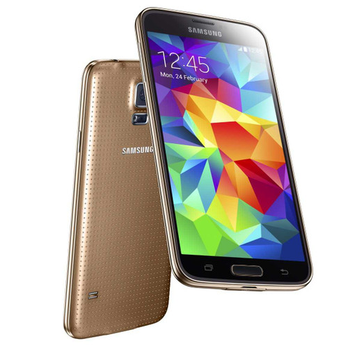 "Samsung Galaxy S5 Dual Sim G900fd Gold 5"" Quad Core 16MP Android Phone"