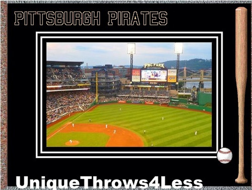 Pittsburgh Pirates PNC Park field scene on loom woven tapestry throw blankets