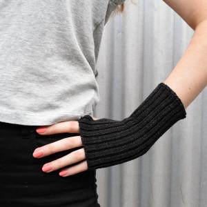 Charcoal Wool Wrist Warmers
