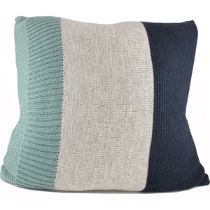 Knitted Wool Cushion - Sage and Steele Blue