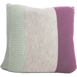 Knitted Wool Cushion - Plum and Mint