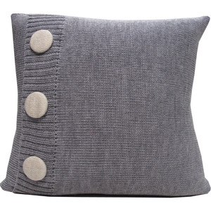 Knitted Wool Cushion - Grey Marl