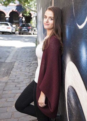 knitted wool shrug - wine - textured