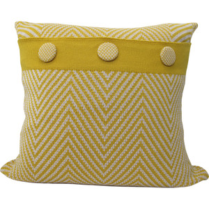 Knitted Wool Cushion - Mustard