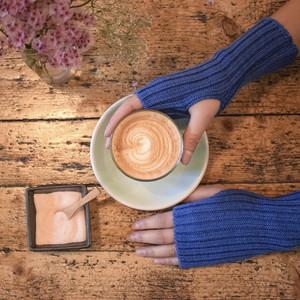 Blue Knitted Wool Wrist Warmers