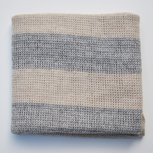 Striped Merino Baby Blanket - Silver