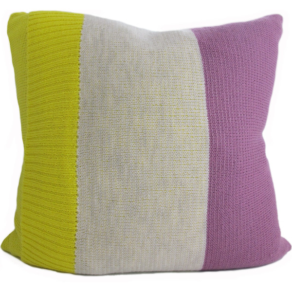 Knitted Wool Cushion - Plum and Yellow