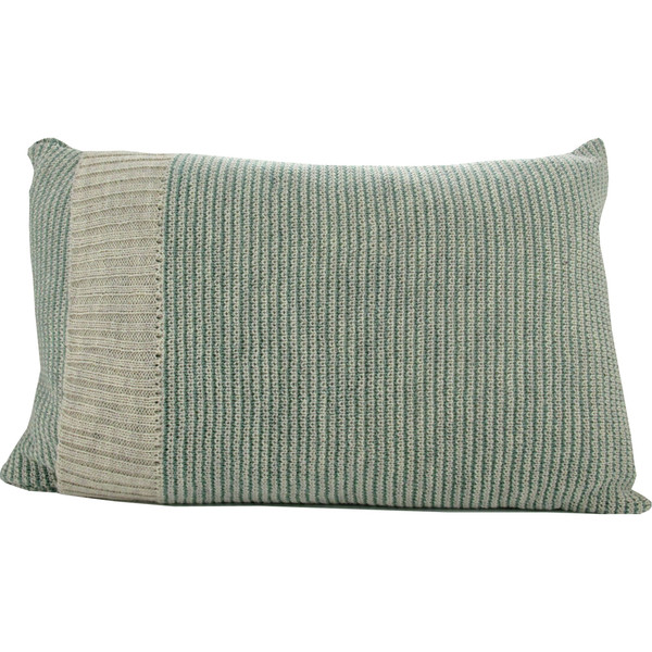Knitted Wool Cushion - Sage and Stone