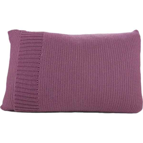 Knitted Wool Cushion - Plum