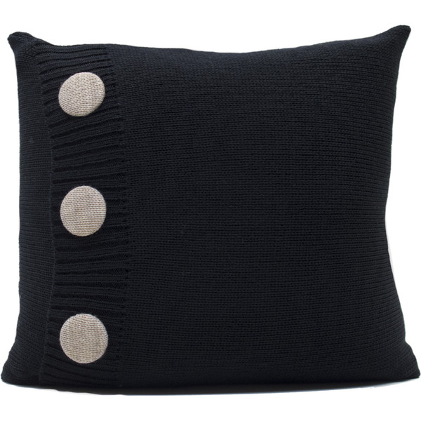Knitted Wool Cushion - Black